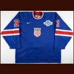 "2004 Bryan Smolinski Team USA World Cup of Hockey Game Issued Jersey – Throwback - ""2004 World Cup of Hockey"" - USA Hockey Letter"