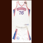 1994-1995 Shawn Bradley Philadelphia 76ers Game Worn Jersey & Shorts - Memorial Armband