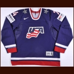 2010 T.J. Oshie Team USA World Championships Game Worn Jersey - Guinness World Record – Team USA Letter