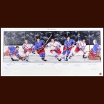 New York Rangers Limited Edition Lithograph - Autographed By 7 Hall of Famers