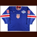 "2004 Jason Blake Team USA World Cup of Hockey Game Worn Jersey – ""2004 World Cup of Hockey"" - 1932 Throwback"
