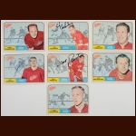 Lot of (7) 1968-69 OPC Detroit Red Wings Autographed Cards – Includes Deceased and Hall of Famer