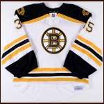 2011-12 Anton Khudobin Boston Bruins Game Worn Jersey - Team Letter