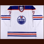 2005-06 Ethan Moreau Edmonton Oilers Warm Up Jersey - Paul Coffey Retirement Night – Photo Match - Team Letter