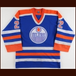 1985-86 Charlie Huddy Edmonton Oilers Game Worn Jersey – Team Letter
