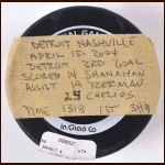 Brendan Shanahan Detroit Red Wings Goal Puck - 2004 Playoffs - Autographed - Assisted by Yzerman and Chelios - Team Letter