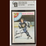 "1978-79 OPC Brian ""Spinner"" Spencer Pittsburgh Penguins Autographed Card – Deceased – GAI Certified"