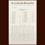 1973-74 WHA Jersey Knights Game Scoresheet vs. the Edmonton Oilers - Knights 2nd Home Game