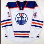 2011-12 Jordan Eberle Edmonton Oilers Game Worn Jersey - Photo Match - Team Letter