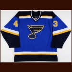 2001-02 Mike Van Ryn St. Louis Blues Game Worn Jersey – Rookie - Photo Match
