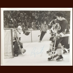 Bernie Parent Philadelpia Flyers 8x10 B&W Autographed Action Photo