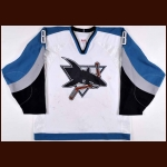 2002-03 Teemu Selanne San Jose Sharks Game Worn Jersey - Photo Match – Team Letter