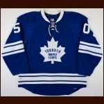 2014-15 Stuart Percy Toronto Maple Leafs Game Worn Jersey – Alternate – Rookie - Photo Match – Team Letter