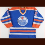 "1982-83 Dave Hunter Edmonton Oilers Stanley Cup Finals Game Worn Jersey – ""Universiade"" - Video Match"