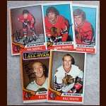 1974-75 OPC Autographed Black Hawks group of 5