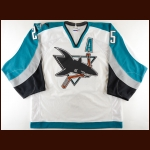 "2000-01 Vincent Damphousse San Jose Sharks Game Worn Jersey – ""10-year Anniversary"""