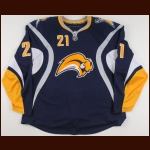 2008-09 Drew Stafford Buffalo Sabres Game Worn Jersey – Alternate - Photo Match – Team Letter