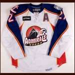 2008-09 Brandon Bochenski Norfolk Admirals Game Worn Jersey - AHL Letter - University of North Dakota Alum