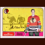 1968-69 Pit Martin Chicago Black Hawks Autographed Card - Deceased