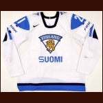 2010 Jasse Ikonen Team Finland World Jr. Championships Game Worn Jersey – Team Sweden Letter