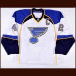 2013-14 David Backes St. Louis Blues Game Worn Jersey - Photo Match – Team Letter