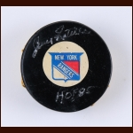 Jean Ratelle New York Rangers Hat Trick Goal Puck – November 21, 1971 – Autographed - Jean Ratelle Letter