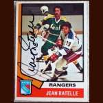 1974-75 OPC Jean Ratelle Autographed Card