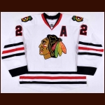 2012-13 Duncan Keith Chicago Blackhawks Game Worn Jersey - Stanley Cup Season - Photo Match – Team Letter