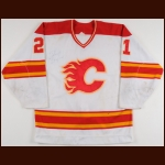 1988-89 Perry Berezan Calgary Flames Game Worn Jersey - Stanley Cup Season