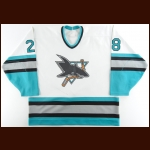 1996-97 Iain Fraser San Jose Sharks Game Worn Jersey