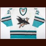 1997-98 Murray Craven San Jose Sharks Game Worn Jersey - Photo Match – Team Letter