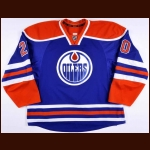 2013-14 Luke Gazdic Edmonton Oilers Game Worn Jersey – Rookie – Retro – Team Letter