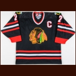 1998-99 Chris Chelios Chicago Blackhawks Game Worn Jersey – Alternate - The Chris Chelios Collection – Chris Chelios Letter