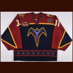 "2003-04 Pasi Nurminen Atlanta Thrashers Game Worn Jersey – ""Thrashers 5-year Anniversary"" – ""37"" – Photo Match - Team Letter"
