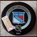 New York Rangers Game Puck - Used in Messier's 1700th Game - NHL Certificate