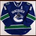 2008-09 Willie Mitchell Vancouver Canucks Game Worn Jersey - Photo Match - Team Letter