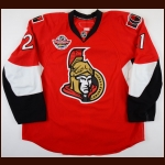 "2008-09 Jason Smith Ottawa Senators Game Worn Jersey – ""Premiere Stockholm"" - Photo Match – Team Letter"