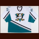 2003-04 Ruslan Salei Anaheim Mighty Ducks Game Worn Jersey - Member of the 2011 KHL Lokomotiv Tragedy - Photo Match