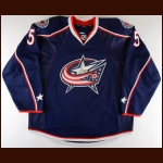 2013-14 Jack Skille Columbus Blue Jackets Game Worn Jersey - Photo Match – Team Letter
