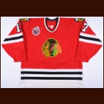 1992-93 Joe Murphy Chicago Blackhawks Game Worn Jersey - Photo Match - Team Letter
