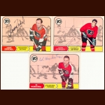 1968-69 OPC Philadelphia Flyers Autographed Card Group of 15 – Larry Zeidel, Allan Stanley & Ed Hoekstra (Deceased)