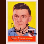 1957-58 Jack Evans New York Rangers Autographed Card - Deceased