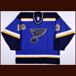 "2006-07 Bill Guerin St. Louis Blues Game Worn Jersey – ""16"" - Brett Hull Retirement Night – Team Letter"