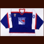 2003-04 Mike Dunham New York Rangers Game Worn Jersey – Vintage - Photo Match
