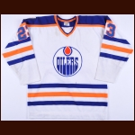 "1979-80 Mike Forbes Edmonton Oilers Game Worn Jersey – ""Edmonton 75-year Anniversary"" – Team Letter"