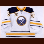 2012-13 Ryan Miller Buffalo Sabres Game Worn Jersey – Boston Strong Night - Photo Match – Video Match – Team Letter
