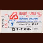 1976-77 Atlanta Flames Ticket Stub -  vs. Canadiens