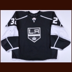 2014-15 Jonathan Quick Los Angeles Kings Game Worn Jersey - Photo Match – Team Letter