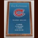 Guy Carbonneau Montreal Canadiens 1984-85 Molson Award – Autographed - Guy Carbonneau Letter