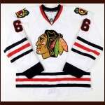 2010-11 Jordan Hendry Chicago Blackhawks Game Worn Jersey - Team Letter